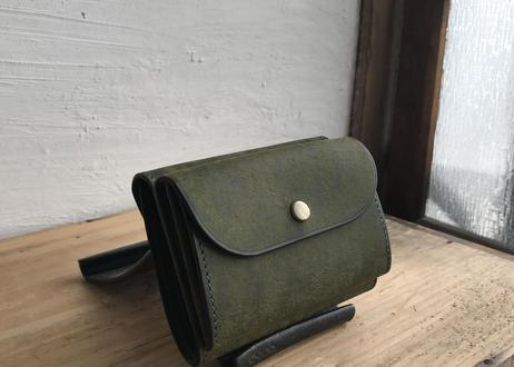 送料無料|革職人lampan二つ折り財布(深緑