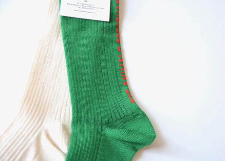 "【 THE ANIMALS OBSERVATORY 20AW 】WORM BABY SOCKS(001412_074_XX) ""靴下""  / ベビー/ ECRU x GREEN"