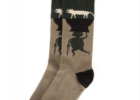 "【 WOLF&RITA 20AW 】SOCKS ANIMALS GREEN ""靴下"" / GREEN"