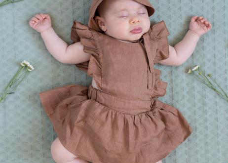 "【 MY LITTLE COZMO 20SS 】ROMPER BABY - LINEN  ANAIS82  "" ロンパース ""  / IVORY LINEN /  9m  - 18m"