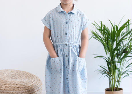 "【 MY LITTLE COZMO 20SS 】DRESS KIDS - LINEN  -SANDYK82 "" ワンピース ""  /  IVORY LINEN  /  3  -  8歳"