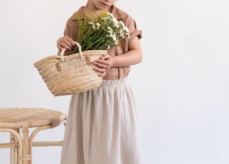 "【 MY LITTLE COZMO 20SS 】SKIRT KIDS - SENA ORGANIC -ERIN86   "" スカート ""  /  STONE /  3  -  8歳"