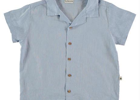 "【 MY LITTLE COZMO 20SS 】SHIRT KIDS - LINEN --ORIOLK82  "" シャツ ""  / BLUE LINEN /  3  -  8歳"
