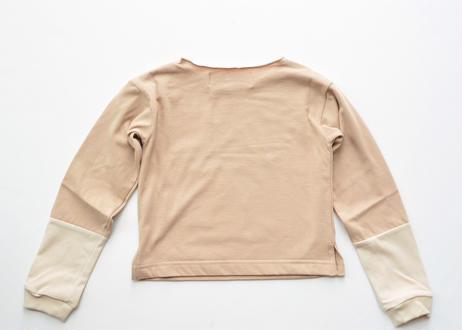 "【 UNIONINI 2020AW 】CS-048 colorblock overlength sleeve tee "" カットソー ""  / beige"