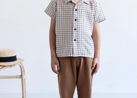 "【 MY LITTLE COZMO 20SS 】TROUSERS KIDS - GRETA -SABANAK81 "" パンツ ""  / STONE PINSTRIPE /  3  -  8歳"