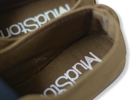 【 La Cadena 20AW 】 GIMNASIA   PANEL COLOR SLIP ON / BROWN KHAKI × BLACK / 15〜16.5cm