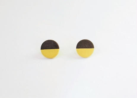 POINT HALF earrings Black / Yellow