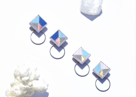 Square Hoop  SILVER<Ice Blue>