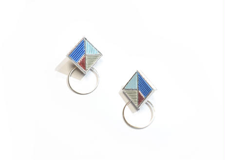 Square Hoop SILVER<Blue mix>
