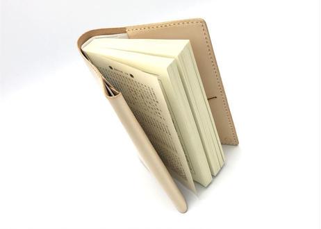 革のブックカバー(文庫本サイズ)/book jaket ヌメ革:ナチュラル【選べるステッチカラー】(r300)