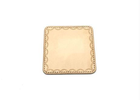革のコースター ヌメ革:ナチュラル【選べるステッチカラー】(r303)