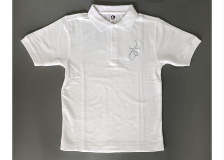 直筆サックス・イラスト刺繍 ポロシャツ<白>