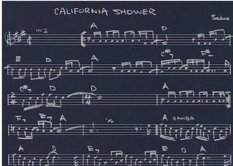 カリフォルニア・シャワー 直筆楽譜プリント T-シャツ <ネイビー>
