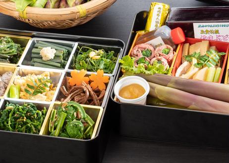 【月山 春の香味箱2段重】 採れたての山菜料理詰め合わせ