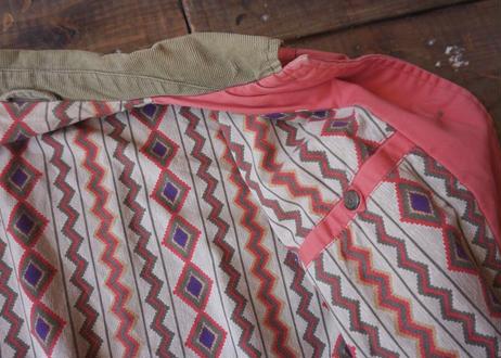 Native pattern liner cotton jacket -tomato-