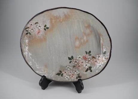 桜の図 八寸楕円皿
