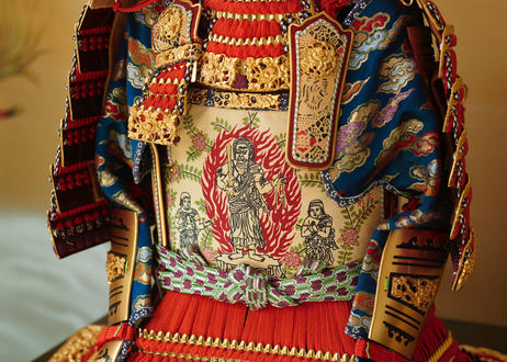 平安一水作 裾裏仕立 正絹朱赤糸縅 獅噛 鎧飾り