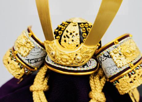 本金箔押 緋色正絹縅 兜飾りセット