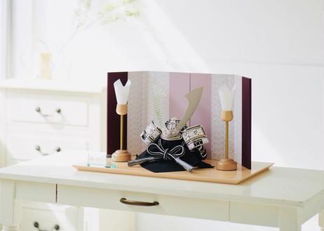 正絹黒糸縅 銀小札銀金具 兜飾り
