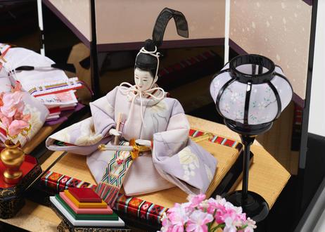 雛人形 コンパクト親王飾り 正絹友禅 黒塗布張り屏風 20-E春輝