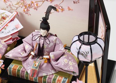 雛人形 親王飾り 正絹友禅 桜刺繍屏風 20-A桜刺繍