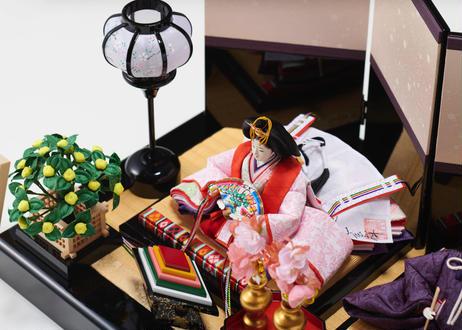 雛人形 コンパクト親王飾り 正絹西陣織 黒塗布張り屏風 19-R春輝