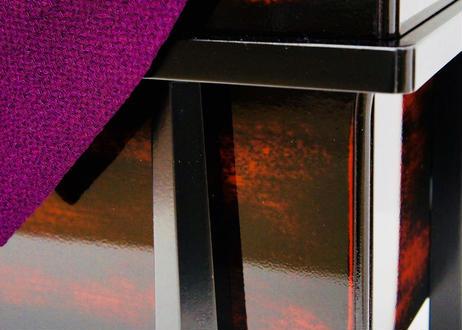平安武久作 本金箔押 朱赤色正絹縅 兜飾りセット