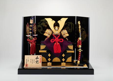 本金箔押 赤色正絹縅 竹雀金具 兜飾りセット