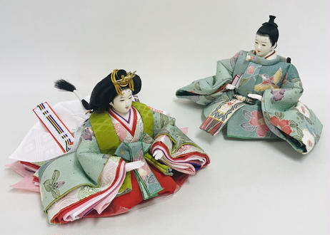 「ASAGIRI」シリーズ 雛人形 コンパクト親王飾り 正絹友禅  20-HW