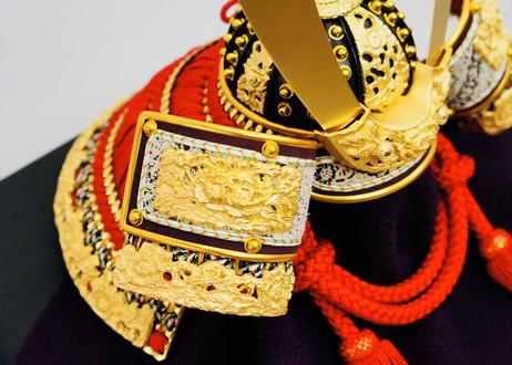 本金箔押 赤色正絹縅 兜飾りセット