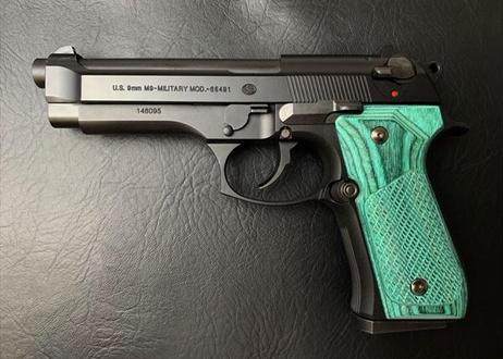 ウッドグリップ|U.S.M9/M9A1|チェッカー/グリーン