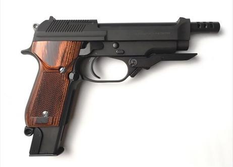 ウッドグリップ KSC製 M93R チェッカー/ブラウン