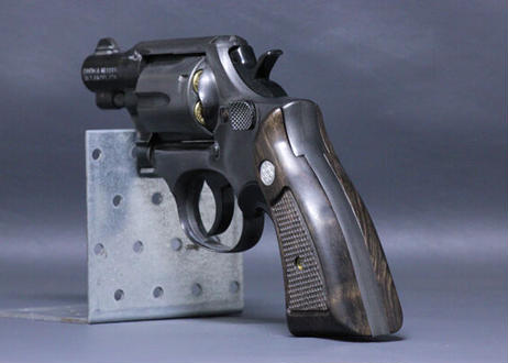 ウッドグリップ S&W K/Lフレーム用 M10 サービスサイズ テーパーカット 黒檀