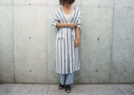 STRIPE LINEN GOWN