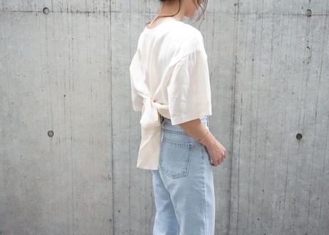 LINEN BACK RIBBON TEE