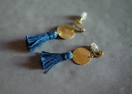 琉球藍染め(麻) タッセルイヤリング