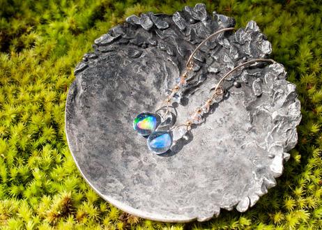ハーキマーダイヤモンド 14KGF フックピアス(ゴールドフィールド)(ボロシリケイトガラス) KN11201