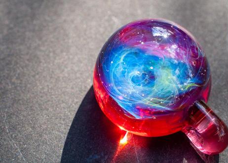 宇宙 レインボーオパール ルビー (ボロシリケイトガラス) ON-11224