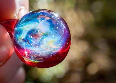 宇宙 レインボーオパール ルビー (ボロシリケイトガラス) ON-11225