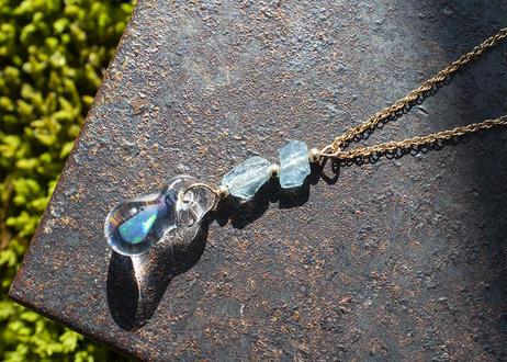 アクアマリン 14KGF チェーンネックレス(ゴールドフィールド)(ボロシリケイトガラス) KN11203