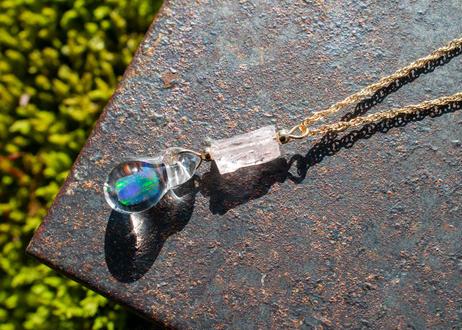 モルガナイト 14KGF チェーンネックレス(ゴールドフィールド)(ボロシリケイトガラス) KN11206