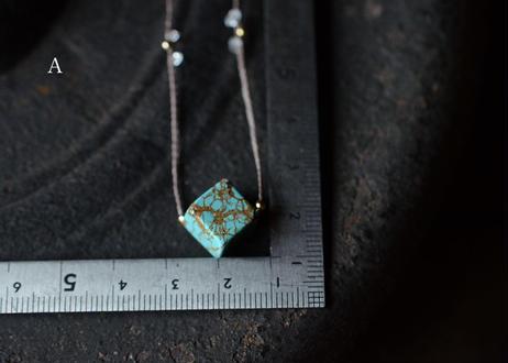 チベット産ターコイズ/一粒の鉱物ネックレス127