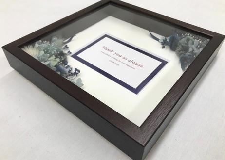 ドライフラワーのメッセージフレーム Royal blue  (22cm×22cm)