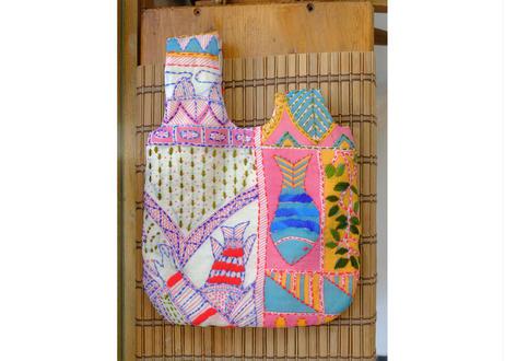 インド刺繍ノットバッグ