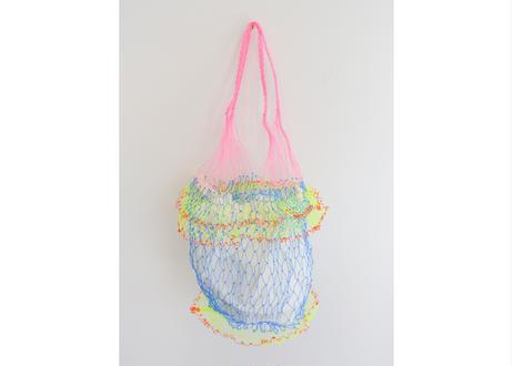 タイのカラフル網バッグ(ライトブルー x ピンク)