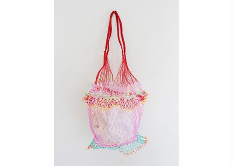 タイのカラフル網バッグ(ピンク x レッド)