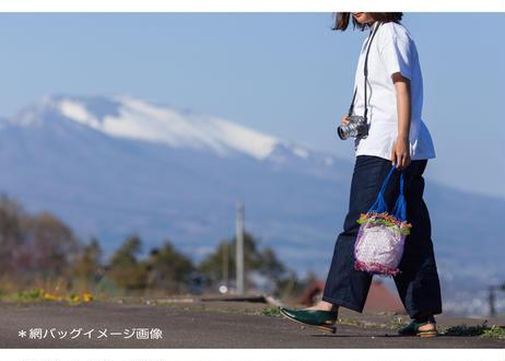 タイのカラフル網バッグ(イエロー x ピンク)