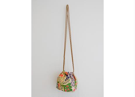 インド刺繍巾着ショルダーバッグ(ゴールドxライトゴールド)