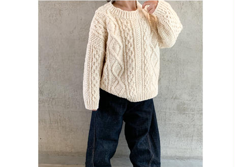 BN CABLE KNIT PULL OVER / ニット / クリーム / ライトブルー / キッズ / 男の子 / 女の子