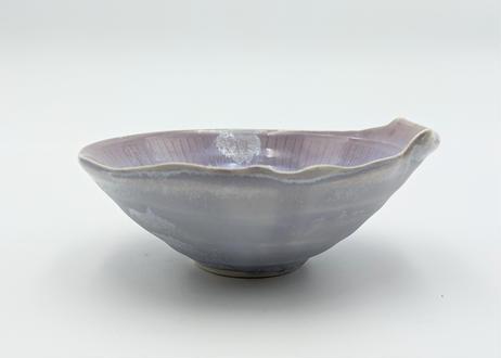 B76 色彩結晶釉変形小鉢 紫